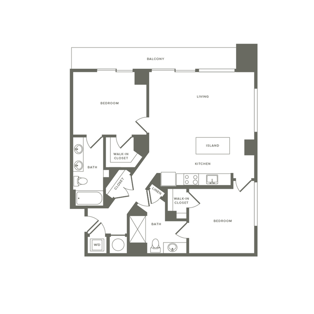 1116 square foot two bedroom two bath apartment floorplan image