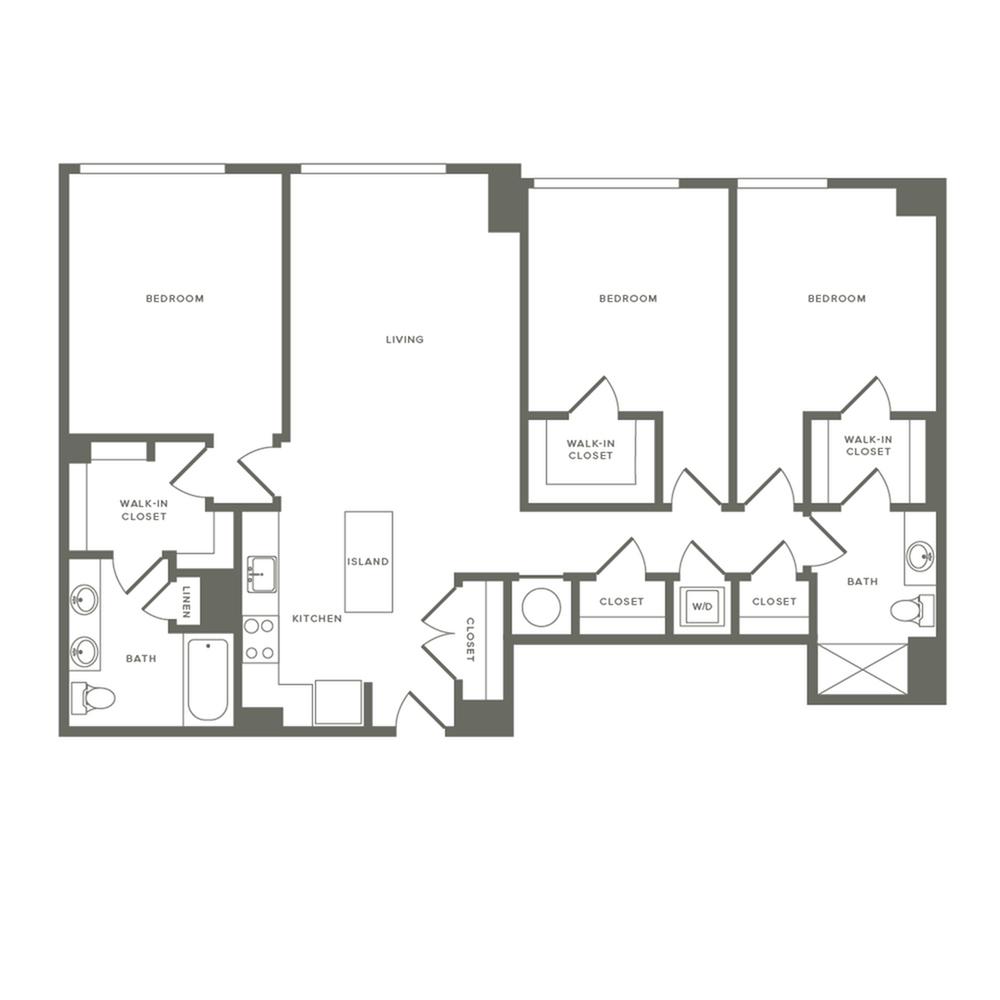 1372 square foot three bedroom two bath apartment floorplan image