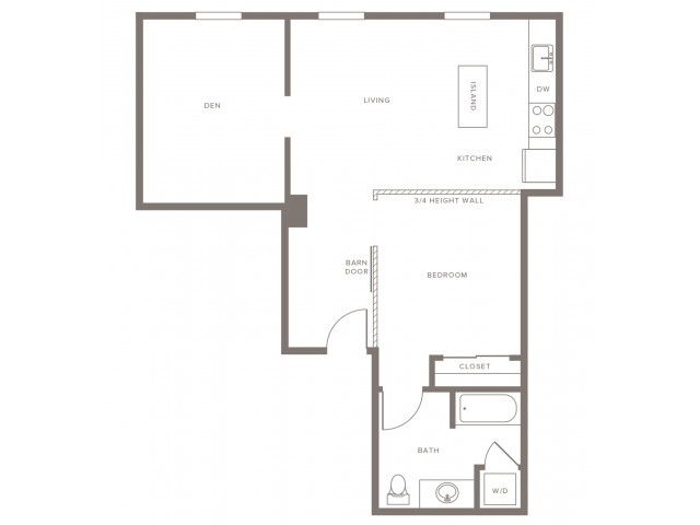 A05 One Bedroom With Den 1 Bed Apartment Modera Lofts