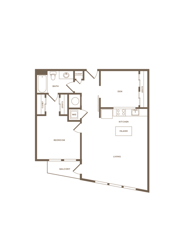 936 square foot one bedroom one bath with den apartment floorplan image