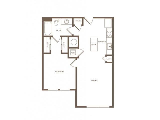 719 square foot one bedroom one bath apartment floorplan image