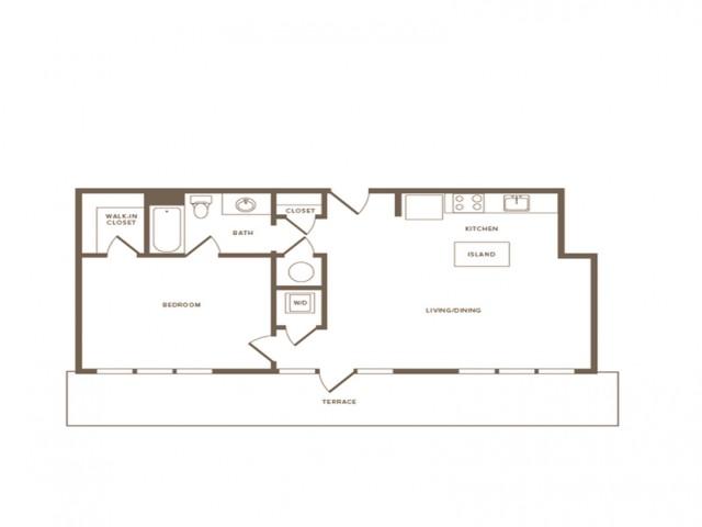 806 square foot one bedroom one bath apartment floorplan image