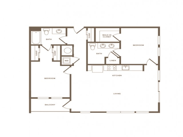 1178 square foot two bedroom two bath apartment floorplan image