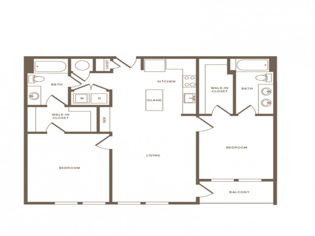 1156 square foot two bedroom two bath apartment floorplan image