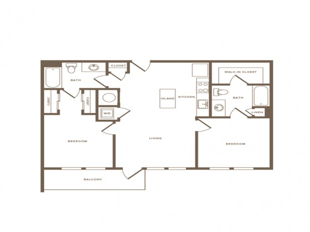980 square foot two bedroom two bath apartment floorplan image