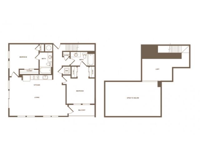 1305 square foot two bedroom two bath loft apartment floorplan image