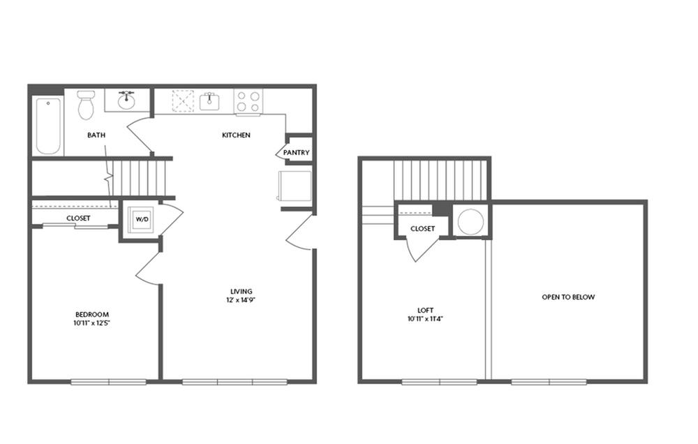 778 square foot one bedroom one bath loft apartment floorplan image