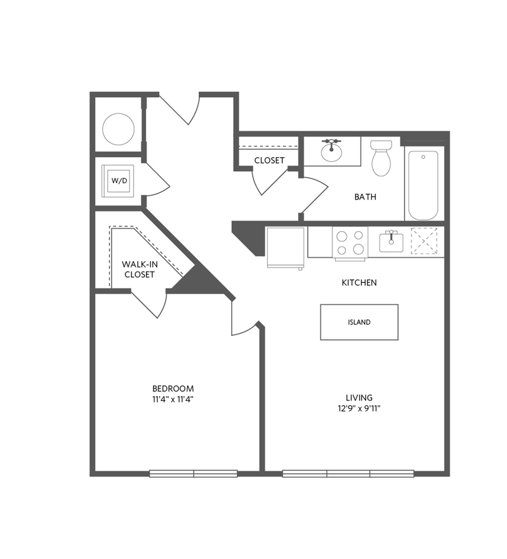 632 square foot one bedroom one bath apartment floorplan image