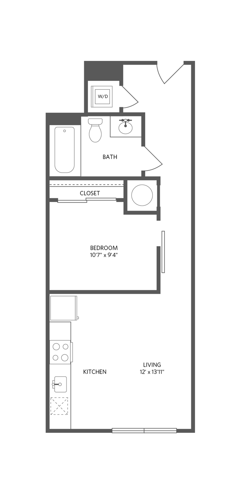 546 square foot one bedroom one bath apartment floorplan image