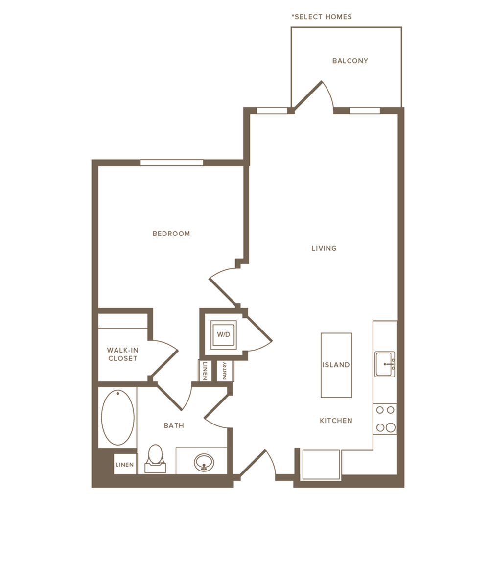 640-651 square foot one bedroom one bath floor plan image