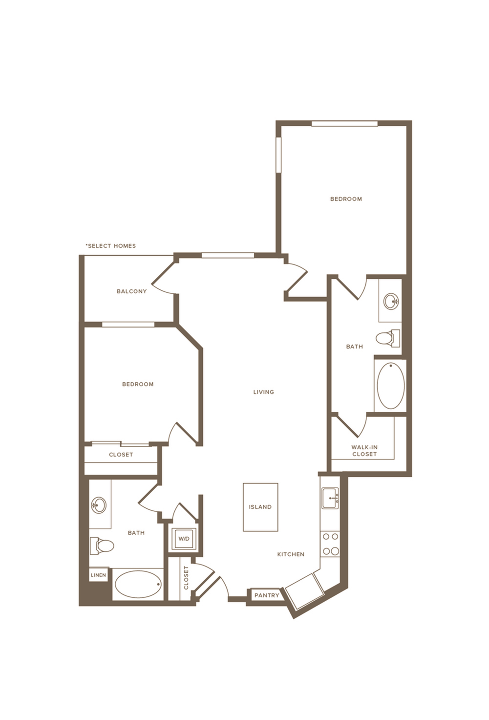 1093 square foot two bedroom two bath floor plan