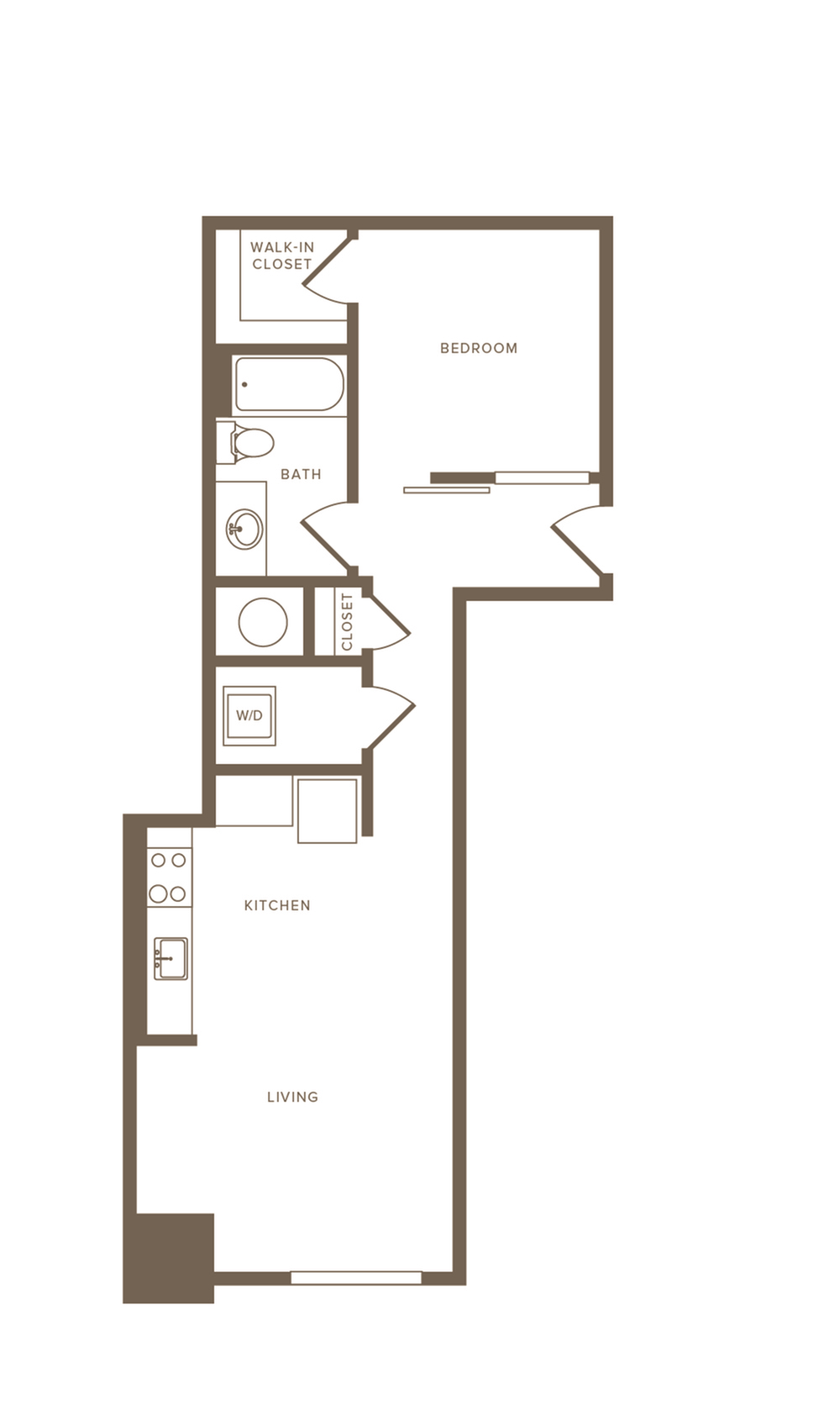 644 square foot one bedroom one bath apartment floorplan image
