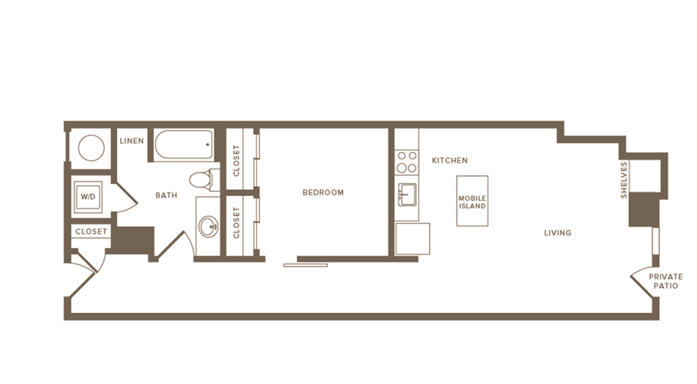 693 square foot one bedroom one bath apartment floorplan image
