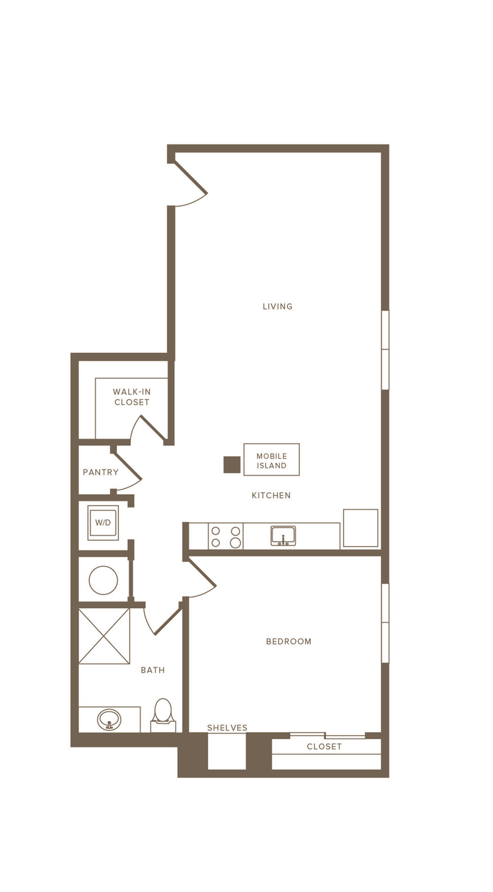 978 square foot one bedroom one bath apartment floorplan image