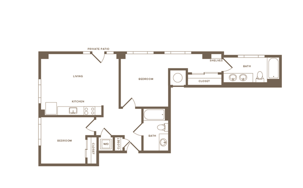 893 square foot two bedroom two bath apartment floorplan image