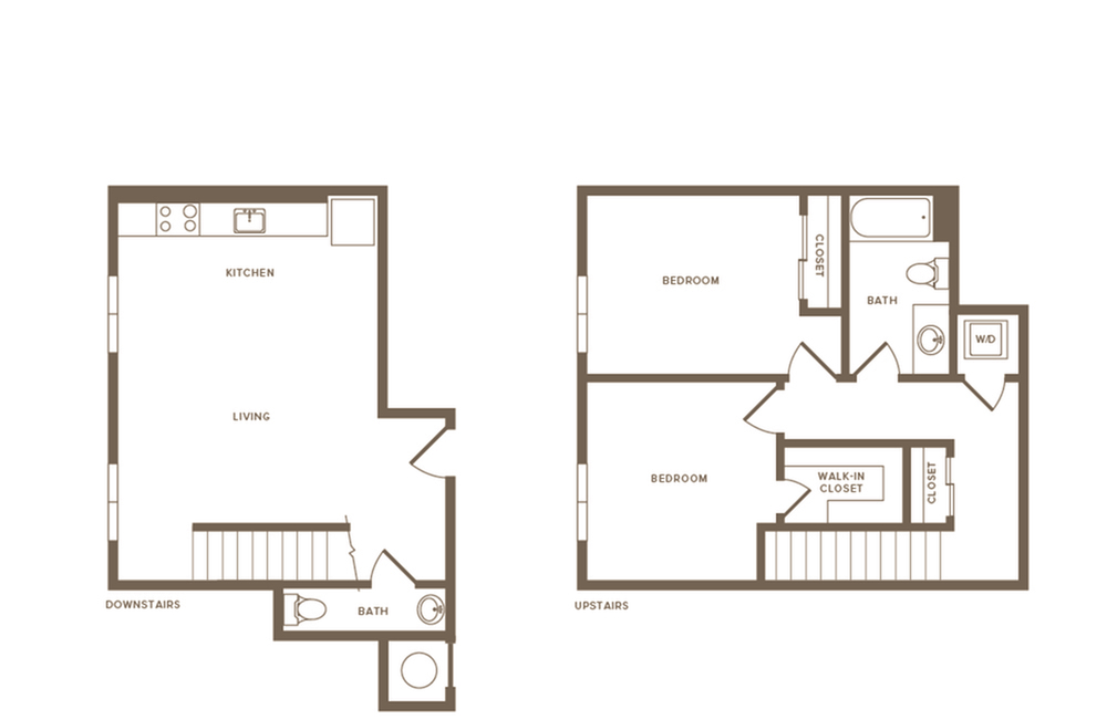 1068 square foot two bedroom one and a half bath two story apartment floorplan image