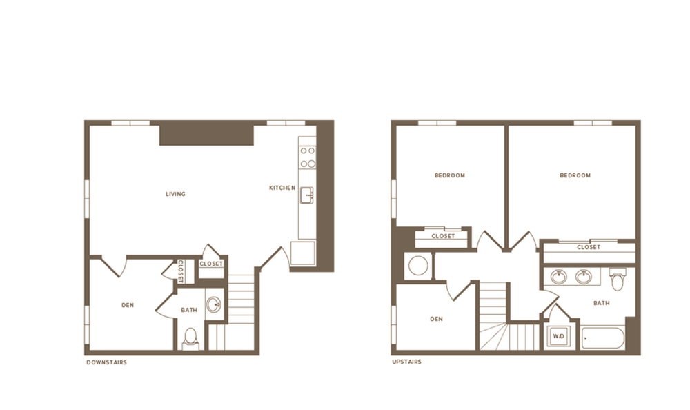 1279 square foot two bedroom one and a half bath with den two story apartment floorplan image