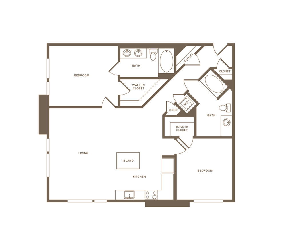 1198-1235 square foot two bedroom two bath floor plan image