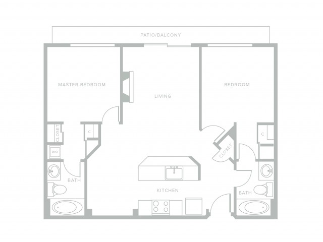 920 square foot two bedroom two story apartment floor plan