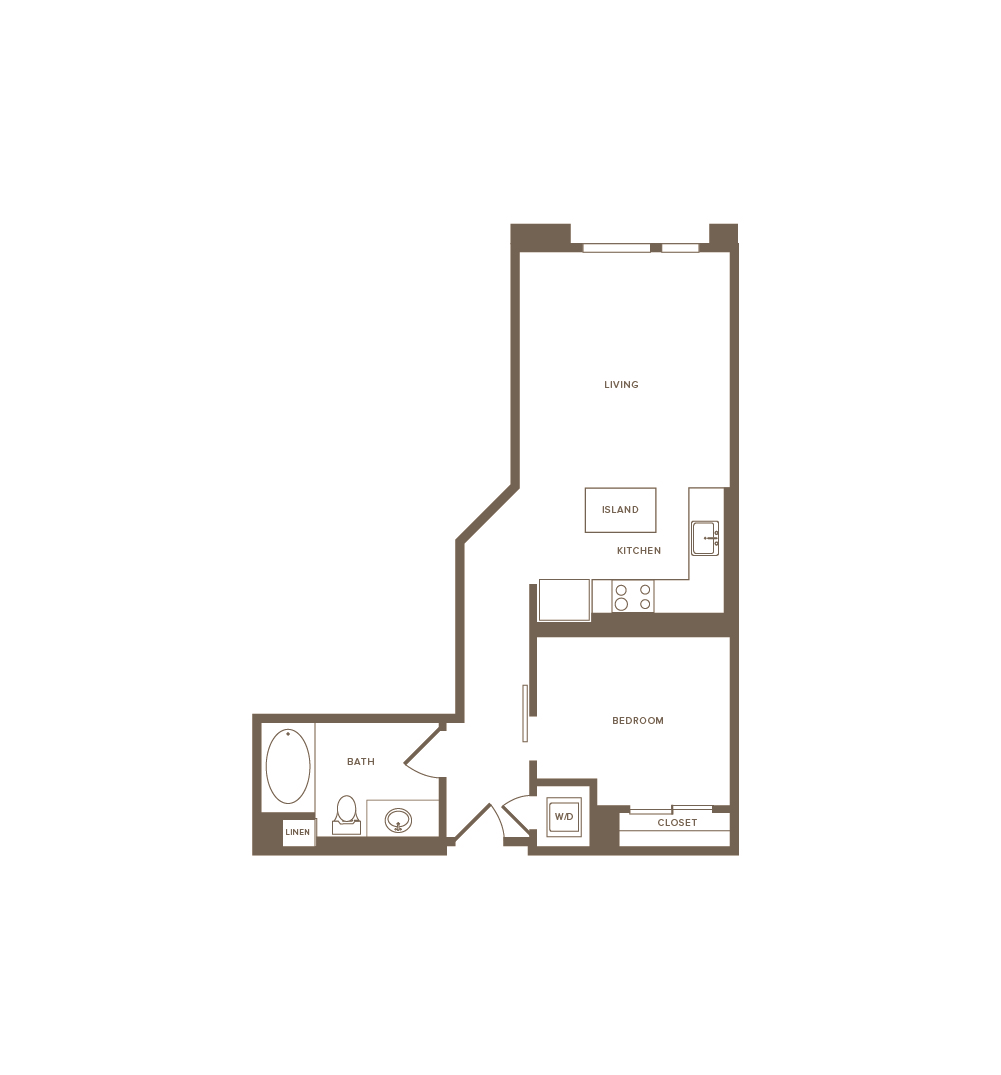 639 square foot one bedroom one bath floor plan image