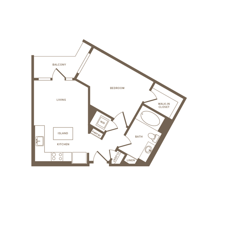 637-640 square foot one bedroom one bath floor plan image