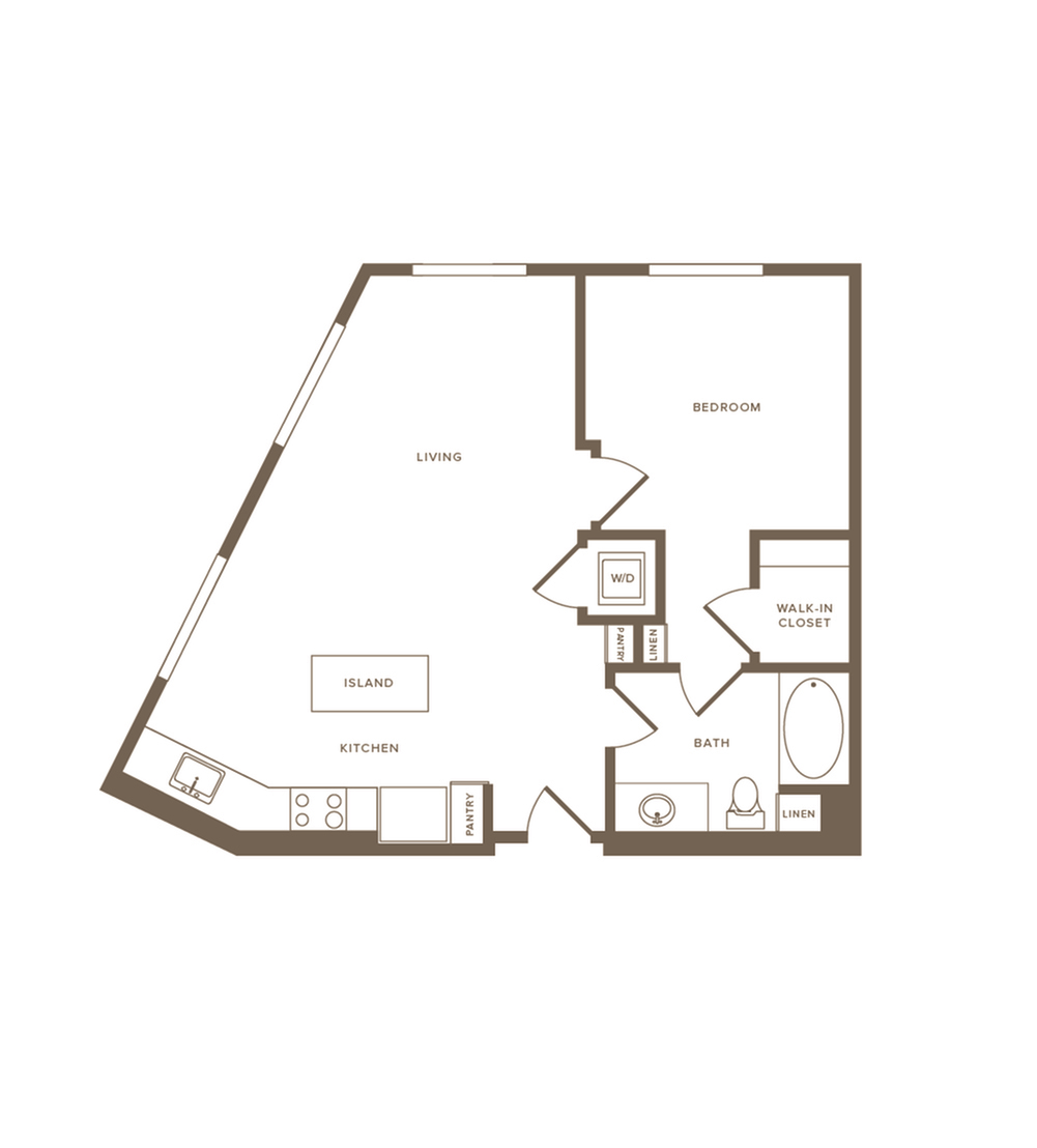 716 square foot one bedroom one bath floor plan image
