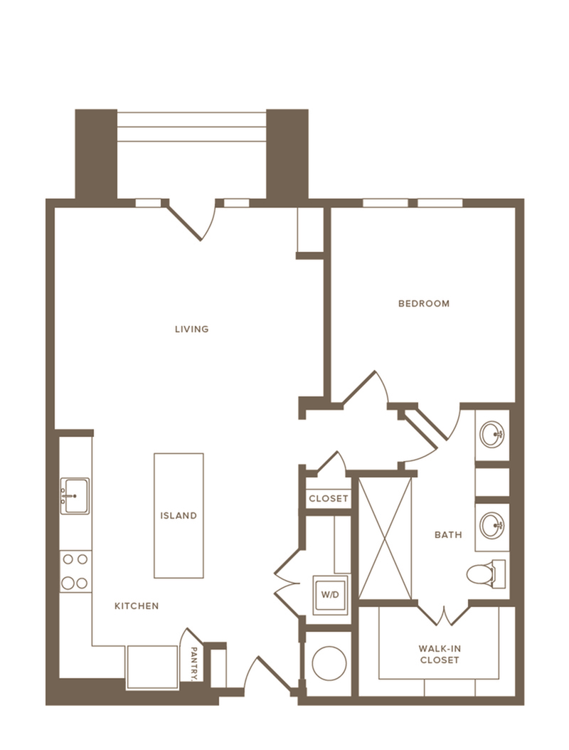 823-845 square foot one bedroom one bath floor plan image