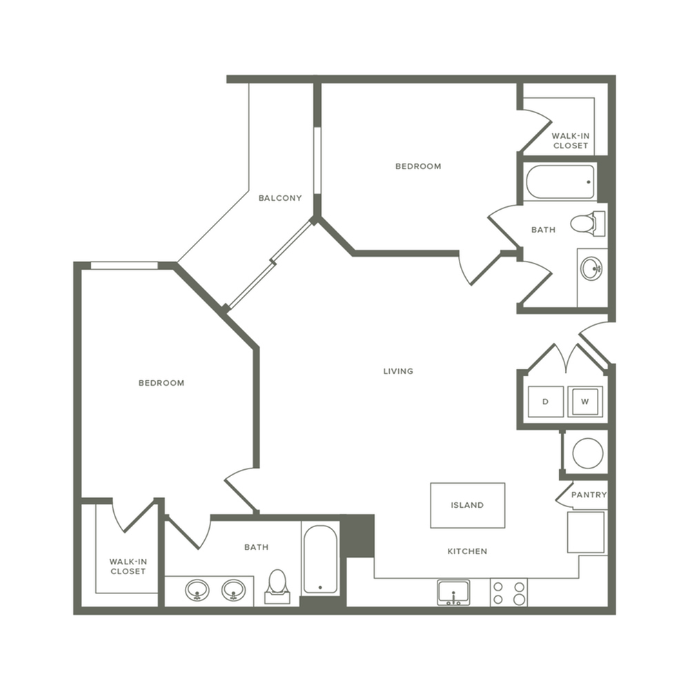 1128 square foot two bedroom two bath apartment floorplan image