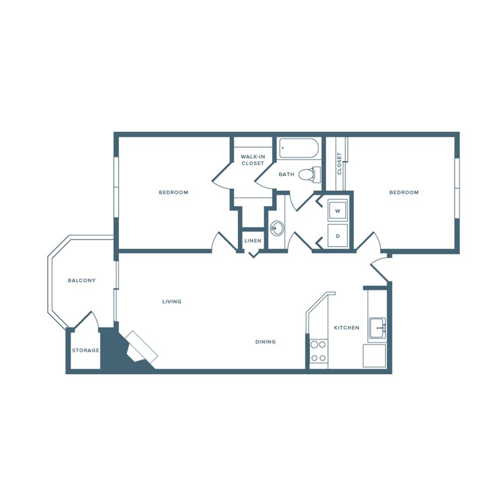 820 square foot two bedroom one bath apartment floorplan image