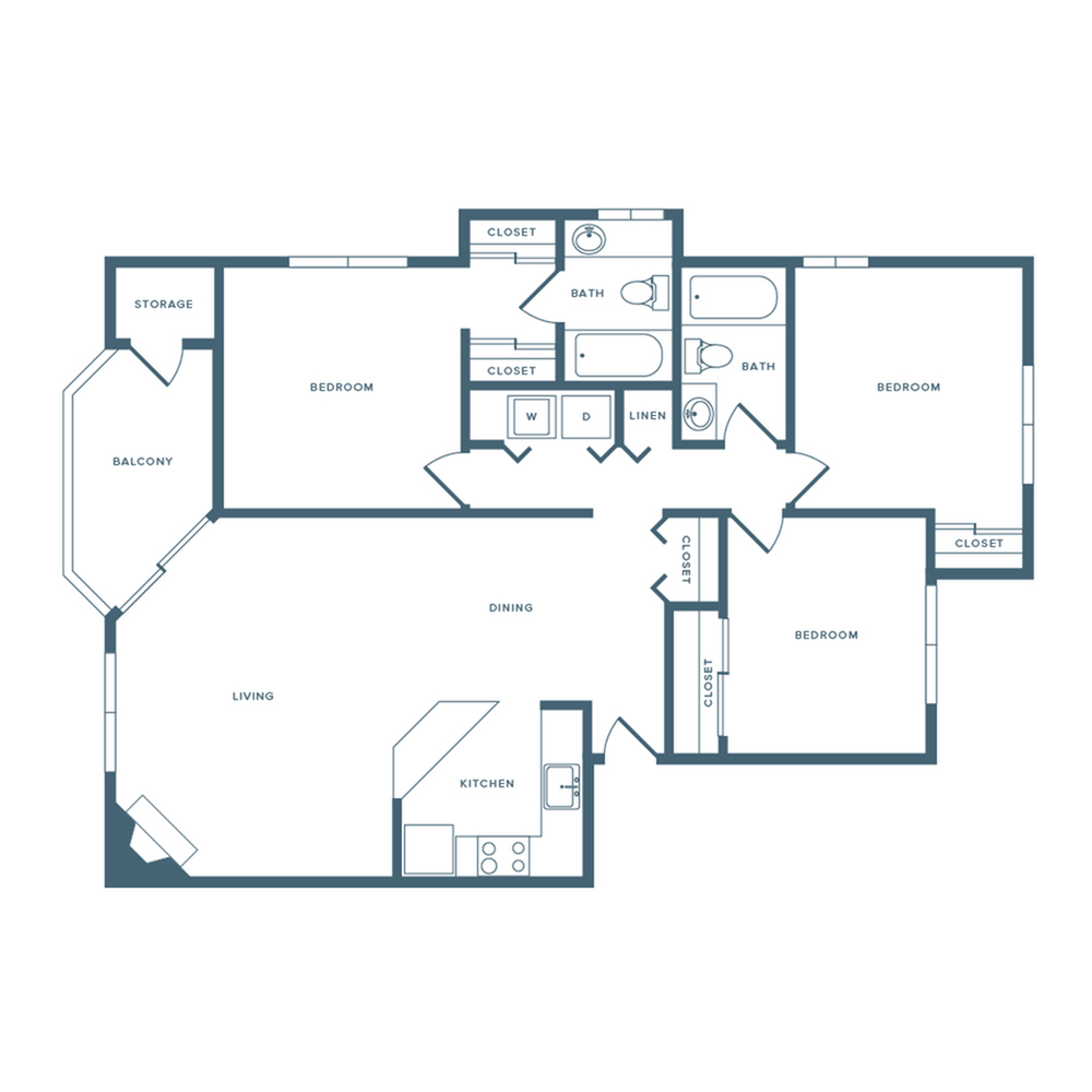1113 square foot three bedroom two bath apartment floorplan image