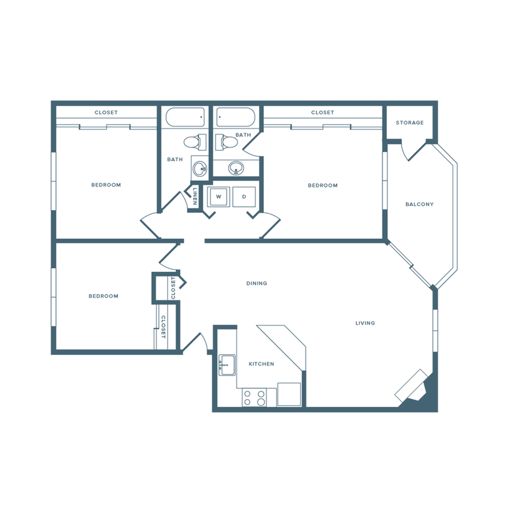 1086 square foot renovated three bedroom one bath apartment floorplan image