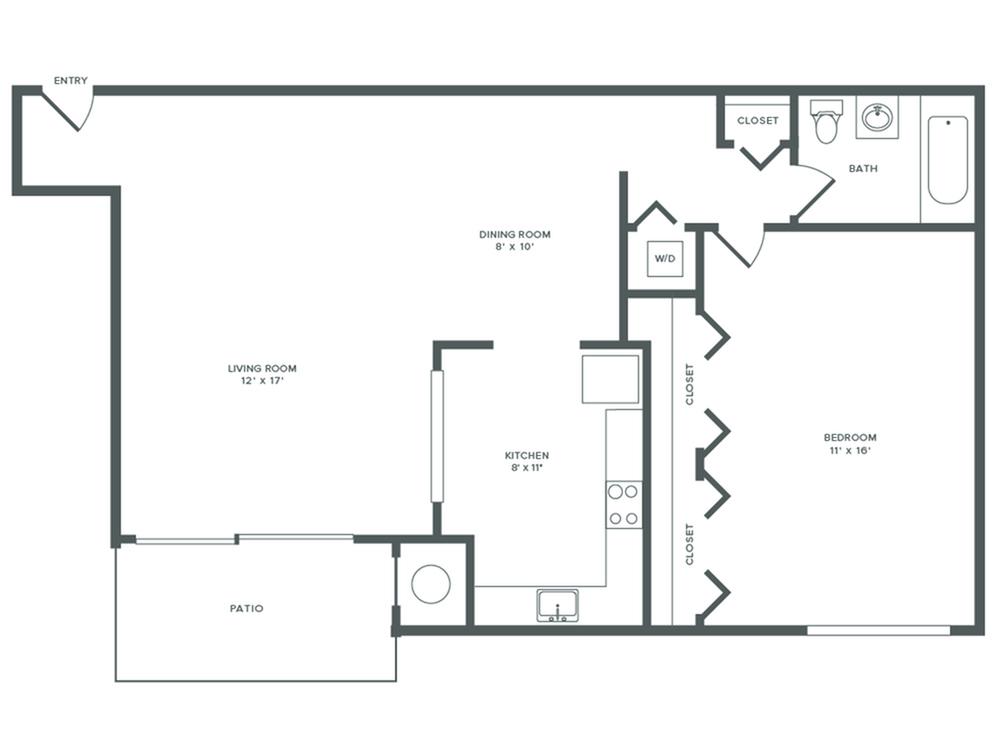 714 square foot renovated one bedroom one bath apartment floorplan image