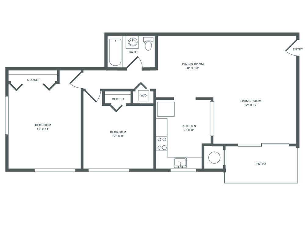875 square foot renovated two bedroom one bath apartment floorplan image