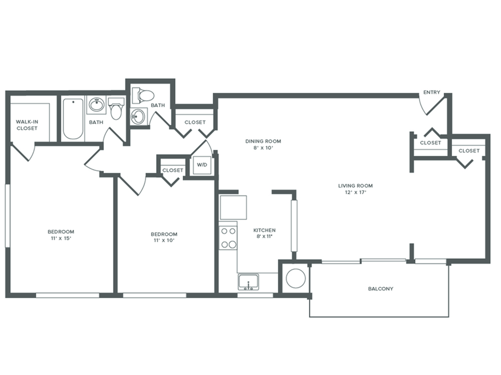 1071 square foot renovated two bedroom with den one and a half bath apartment floorplan image