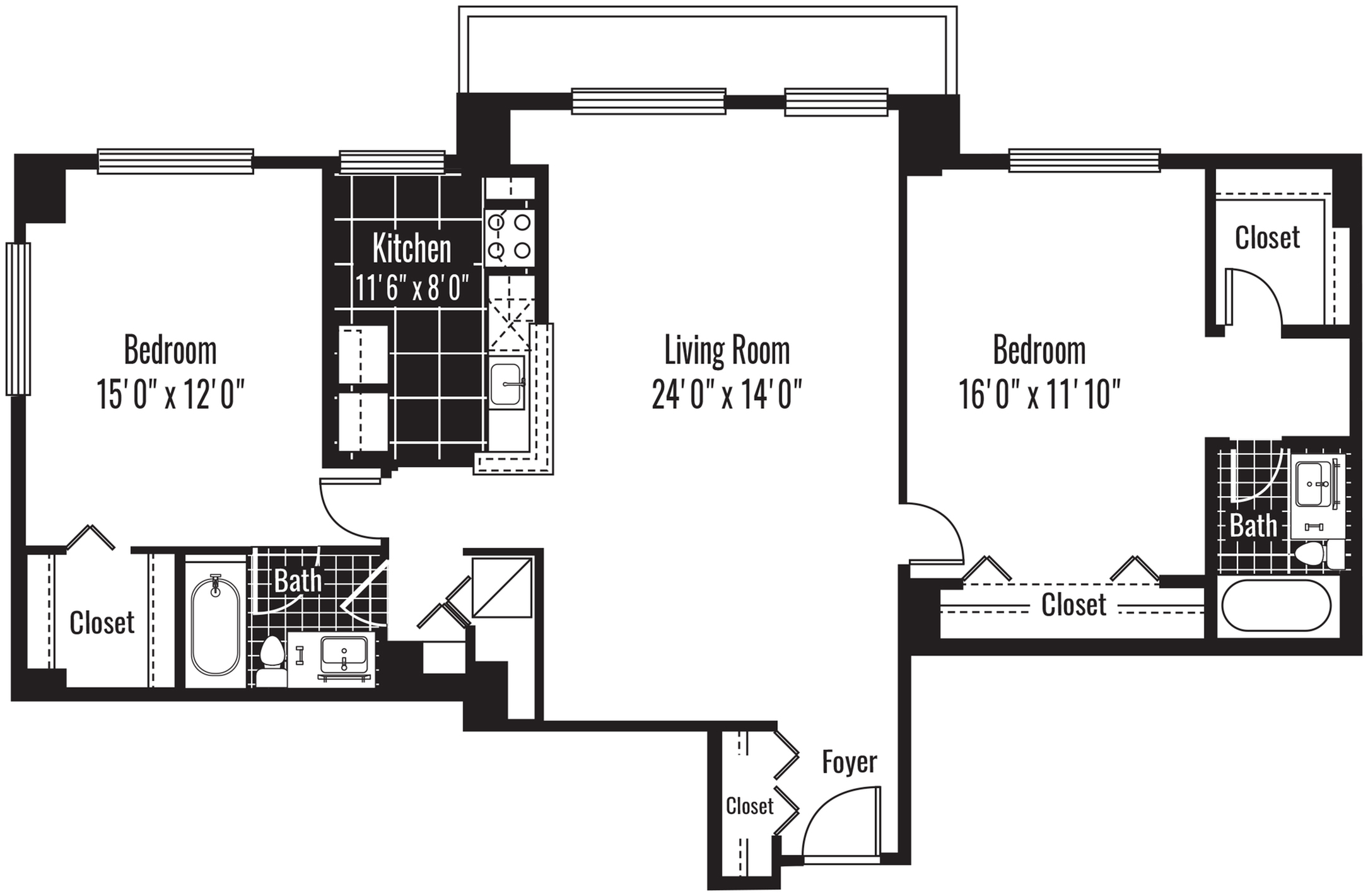 1250 square foot two bedroom two bath apartment floorplan image