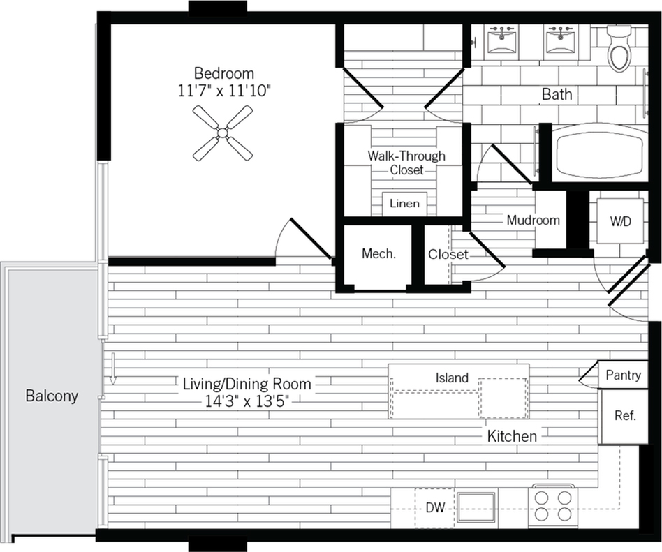 775 square foot one bedroom one bath apartment floorplan image