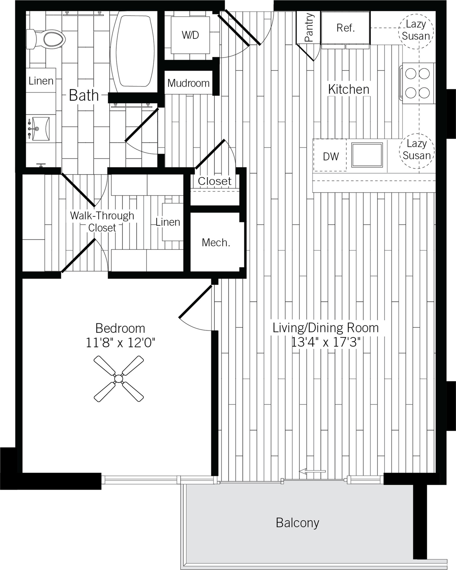 787 square foot one bedroom one bath apartment floorplan image