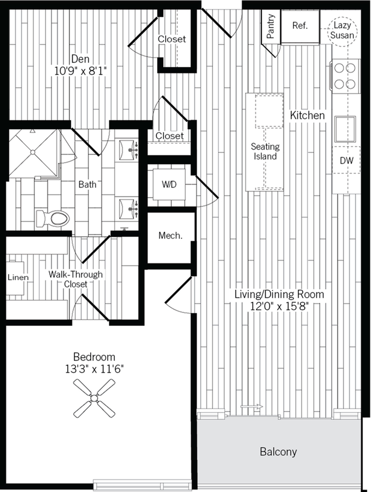 905 square foot one bedroom one bath with den apartment floorplan image
