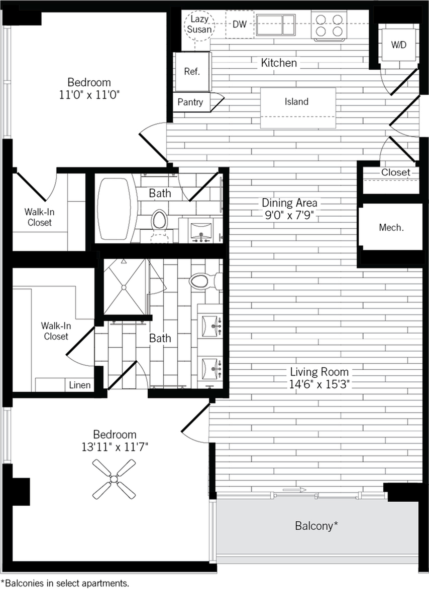 1137 square foot two bedroom two bath apartment floorplan image