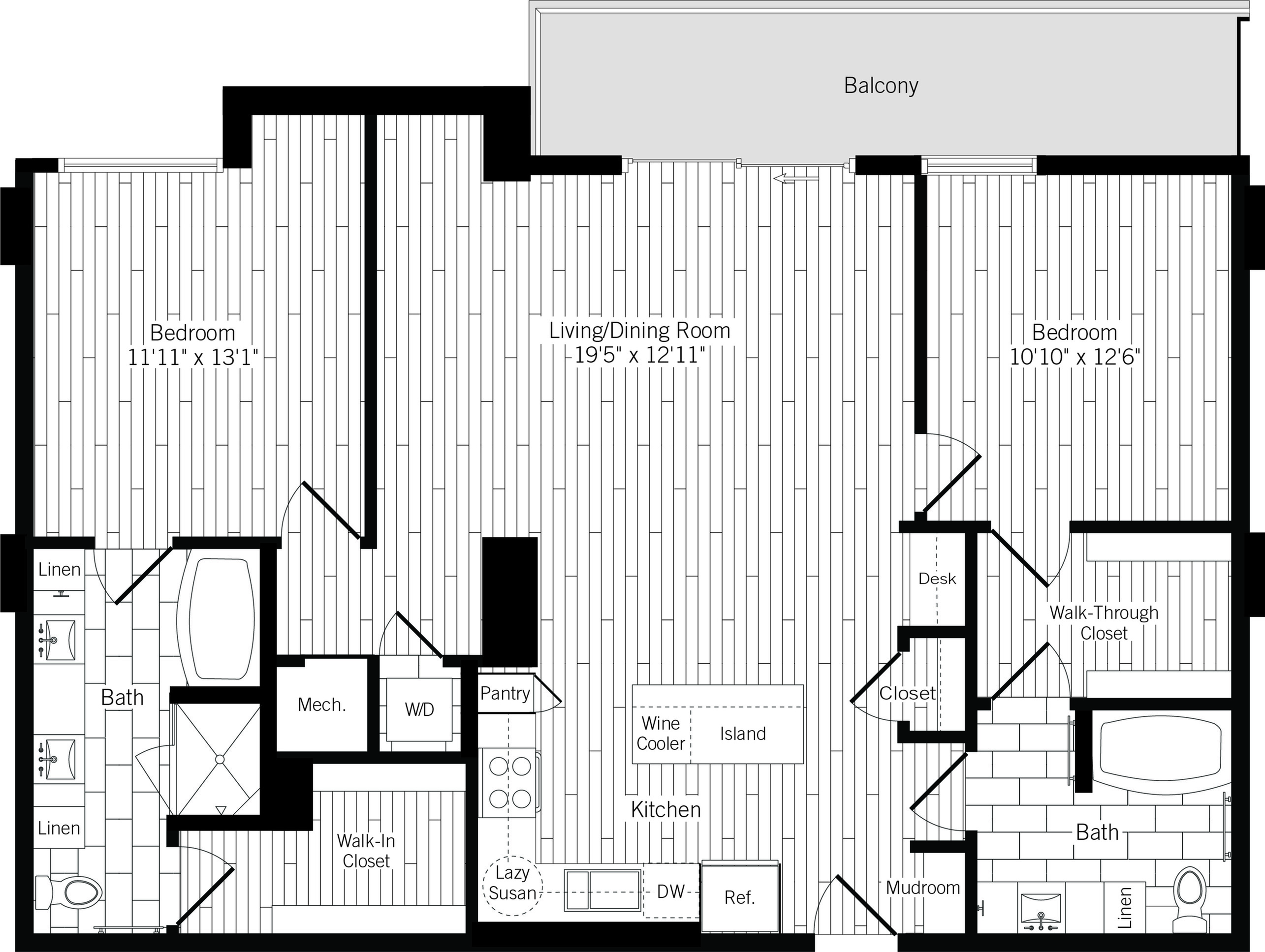 1296 square foot two bedroom two bath apartment floorplan image