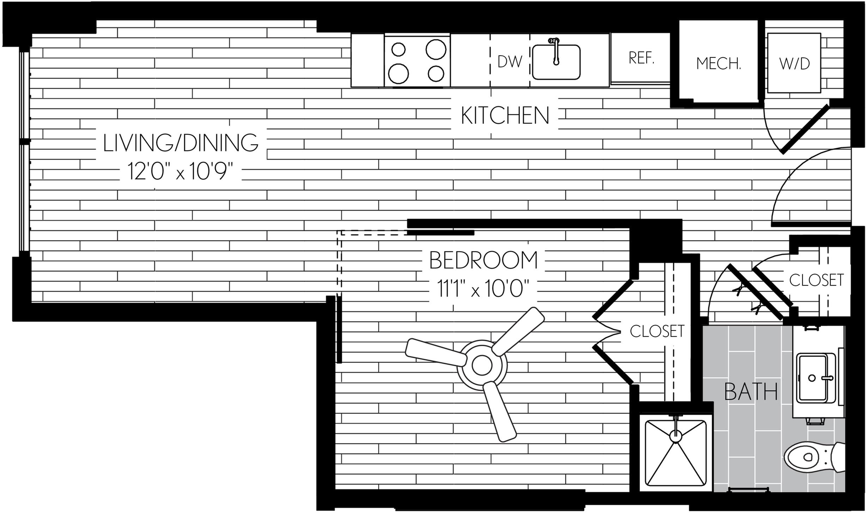 516 square foot one bedroom one bath apartment floorplan image