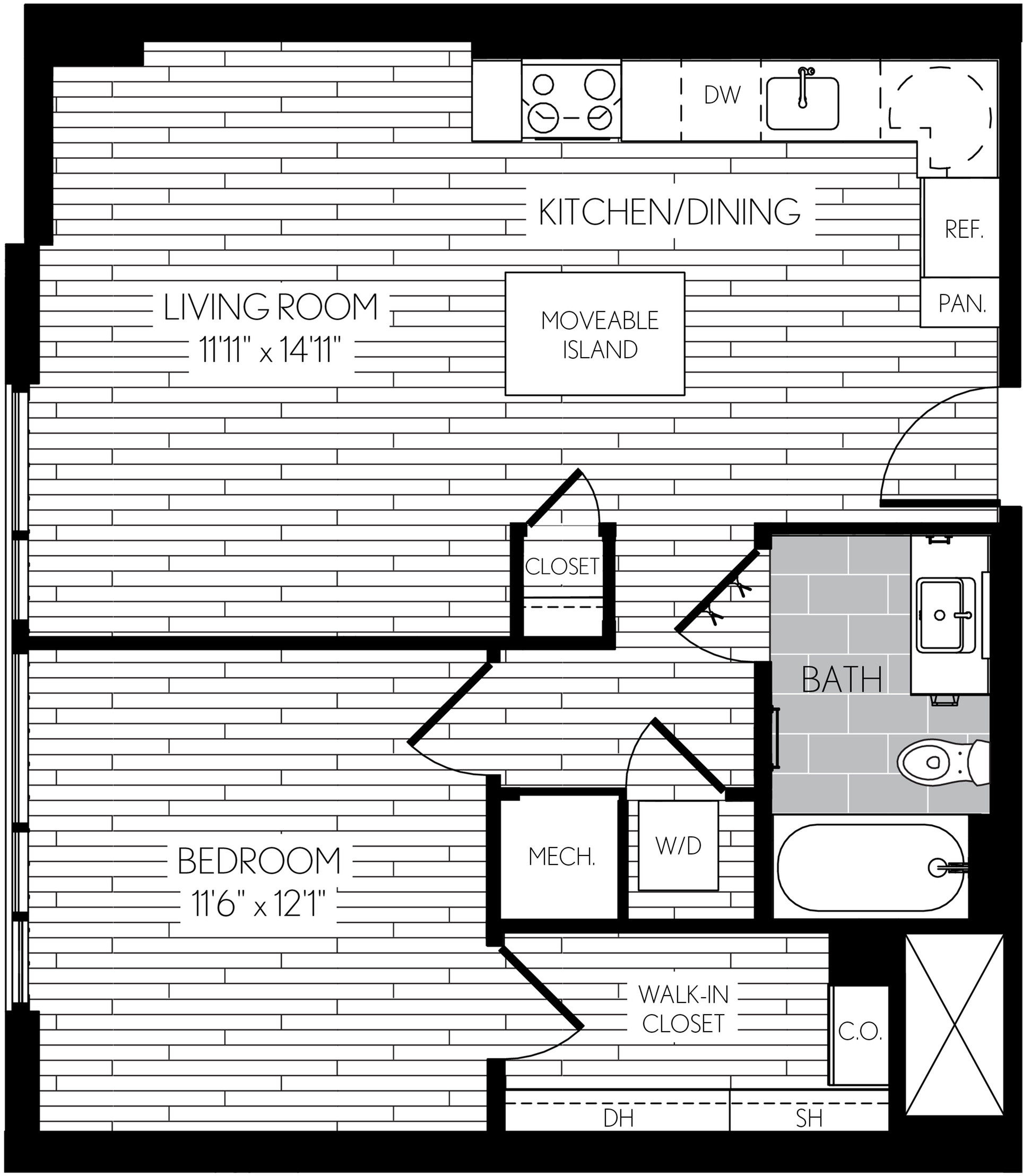 663 square foot one bedroom one bath apartment floorplan image