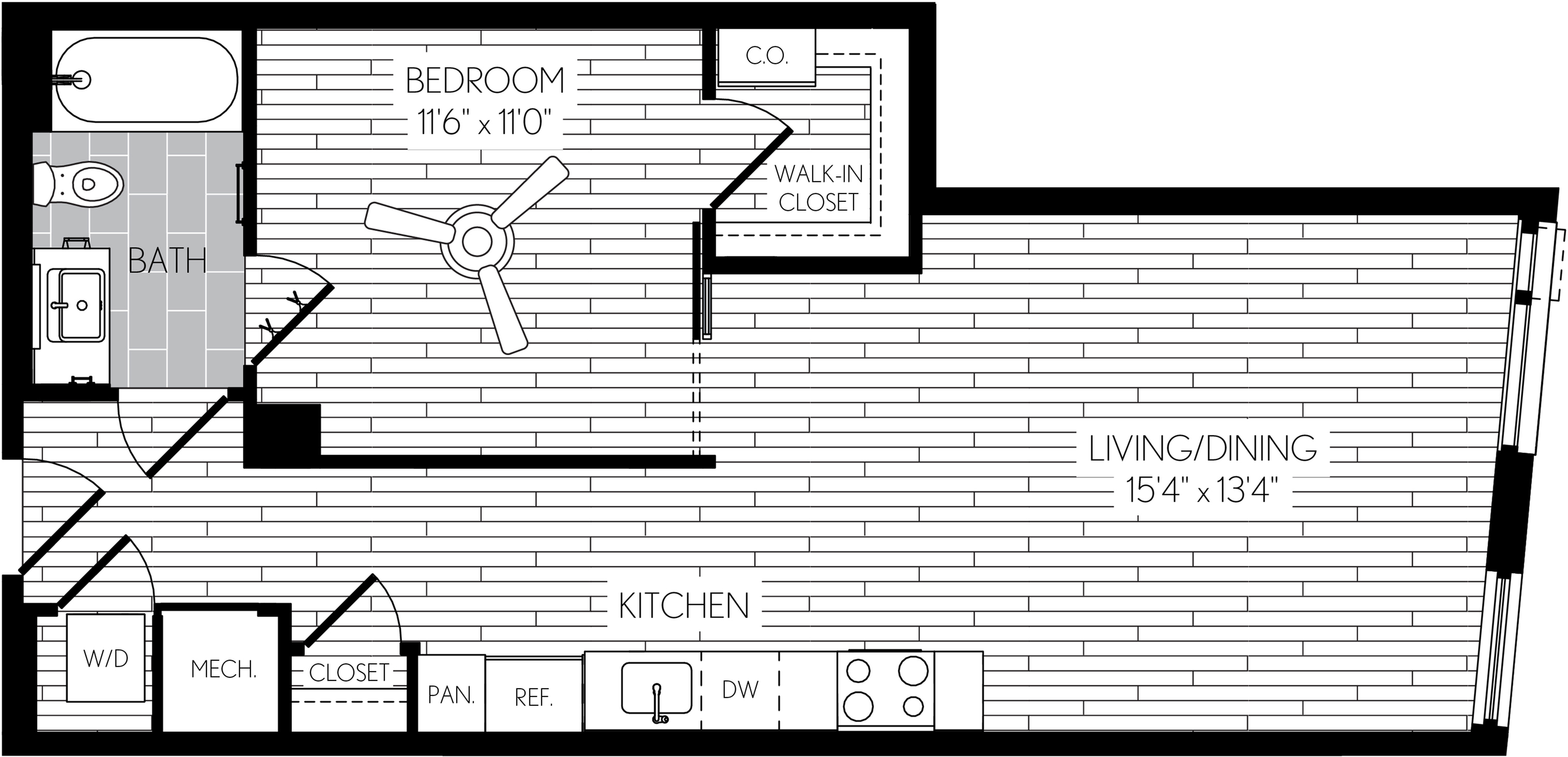671 square foot one bedroom one bath apartment floorplan image
