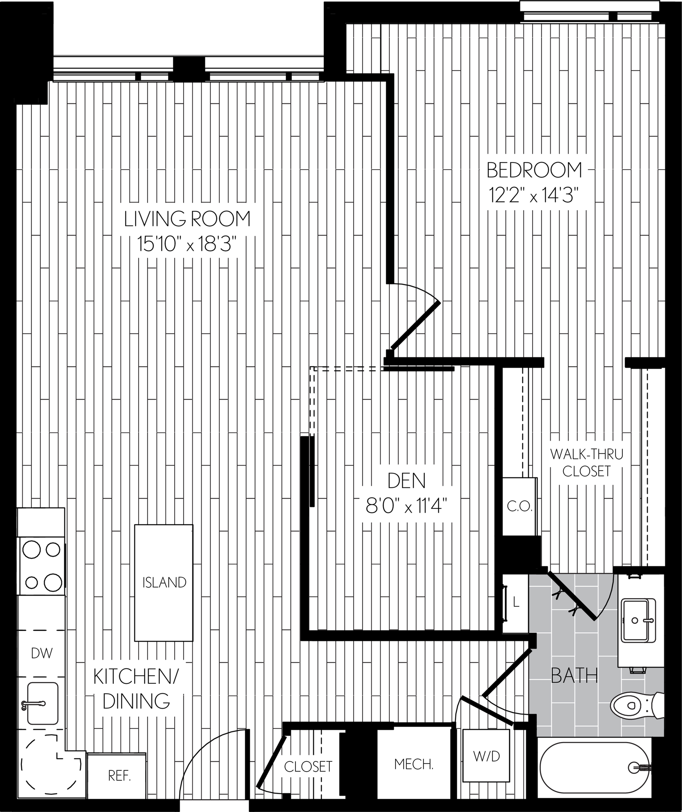 957 square foot one bedroom one bath with den apartment floorplan image