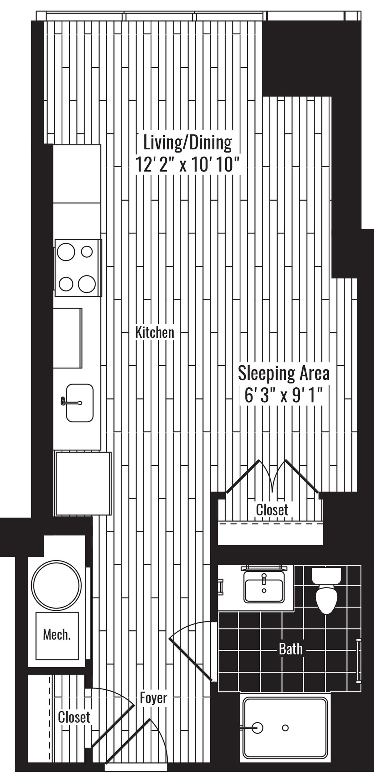 457 square foot studio one bath apartment floor plan image