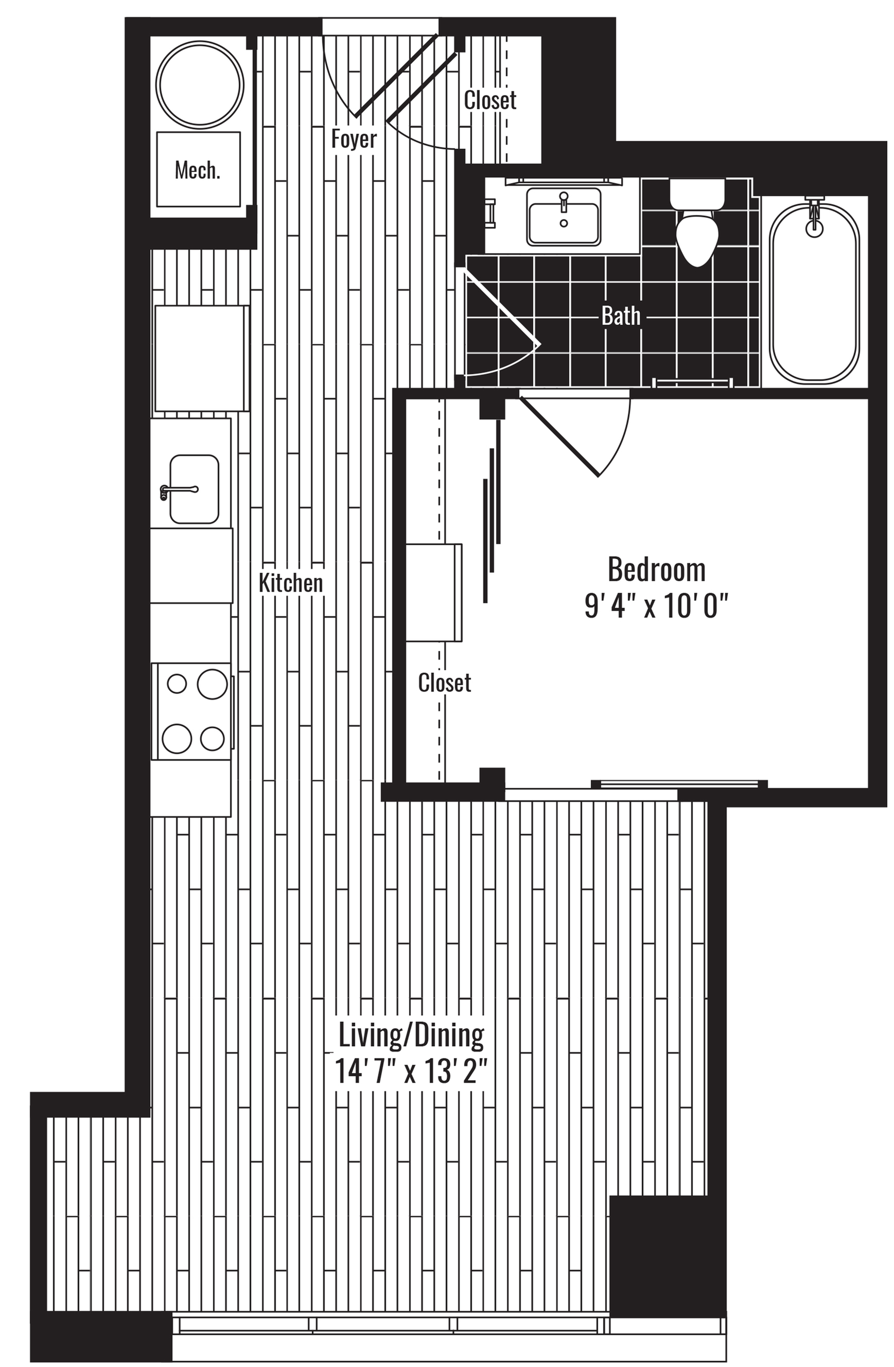 585 square foot one bedroom one bath with offset living room apartment floorplan image