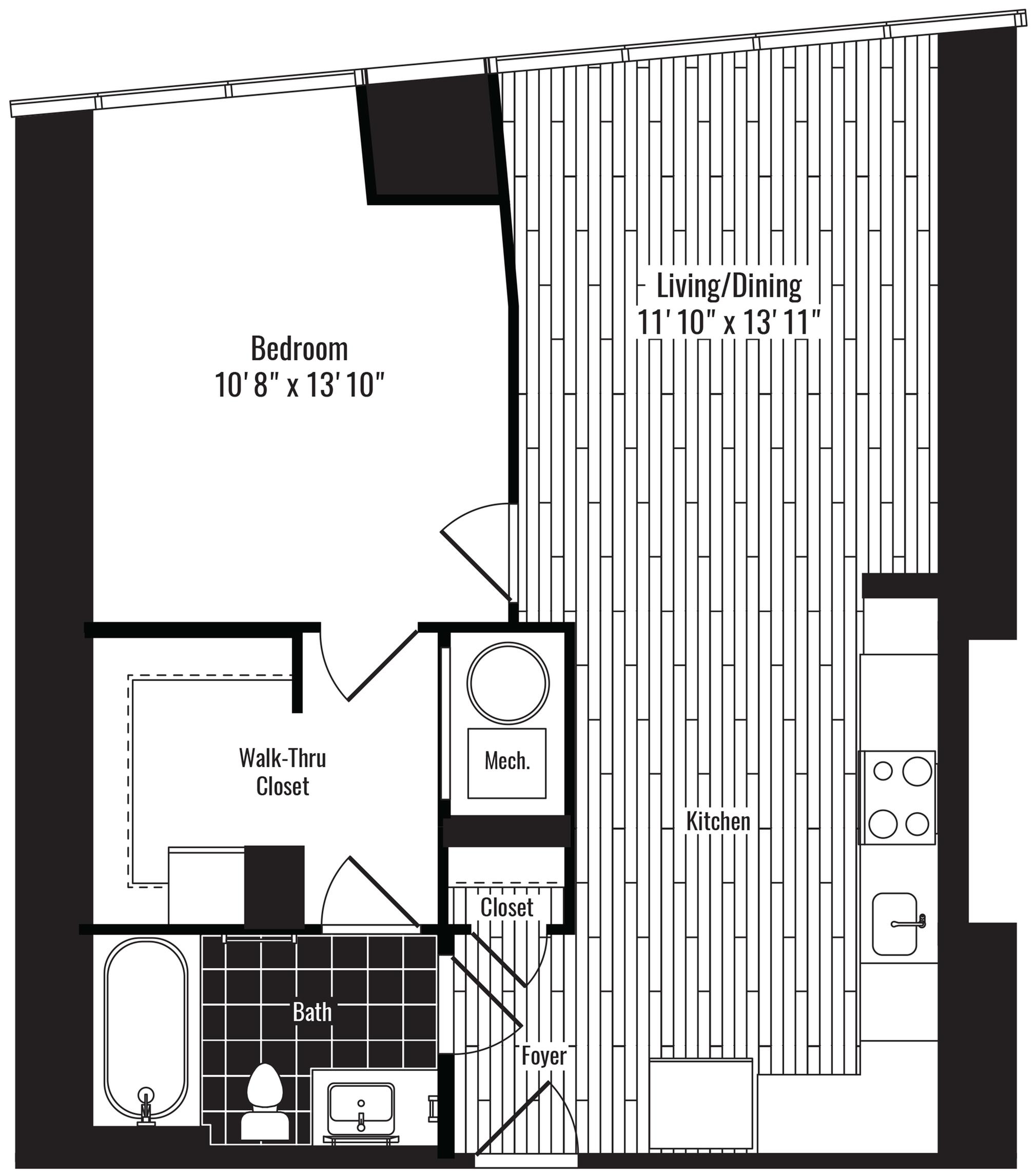 688 square foot one bedroom one bath apartment floorplan image
