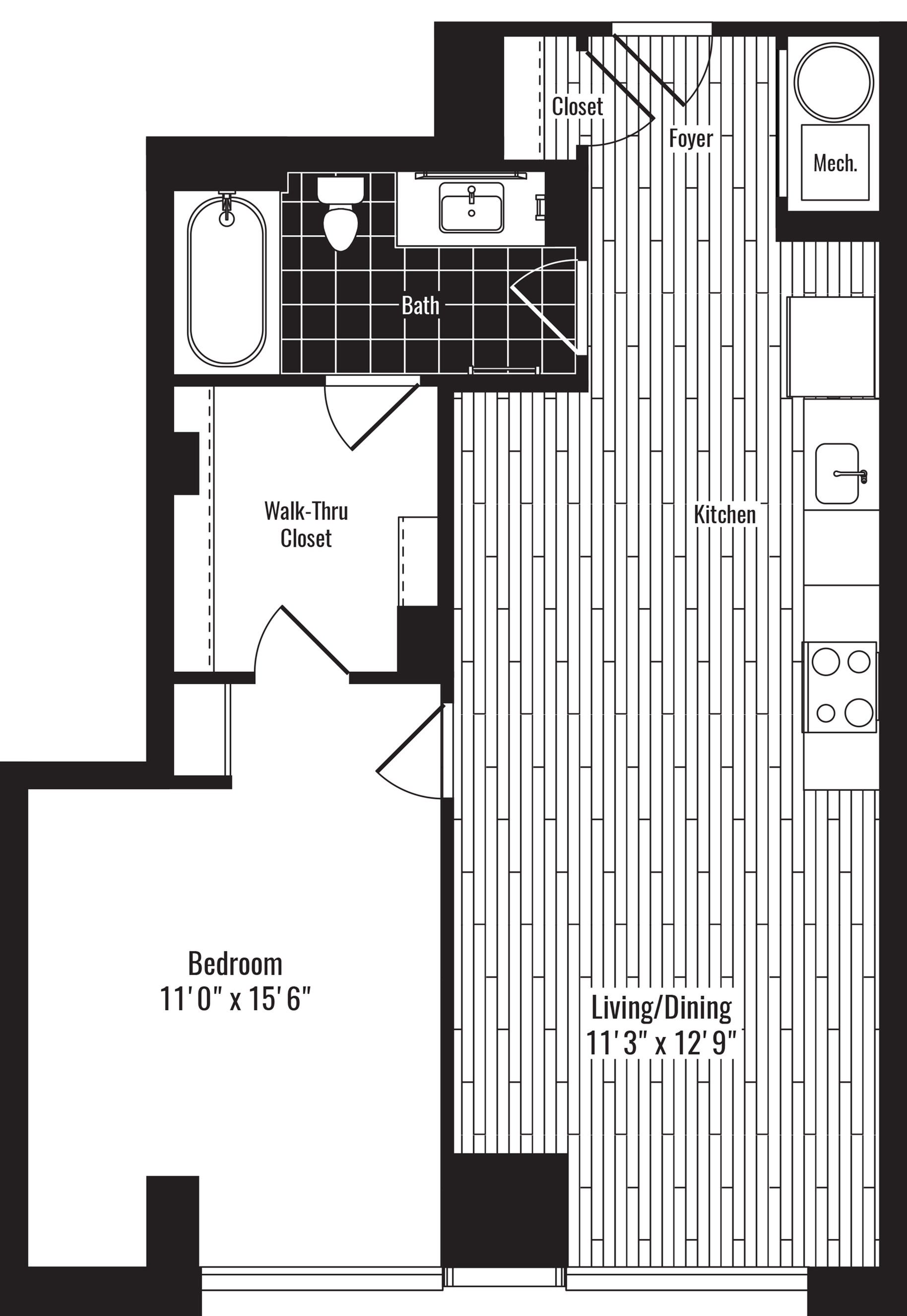 712 square foot one bedroom one bath apartment floorplan image