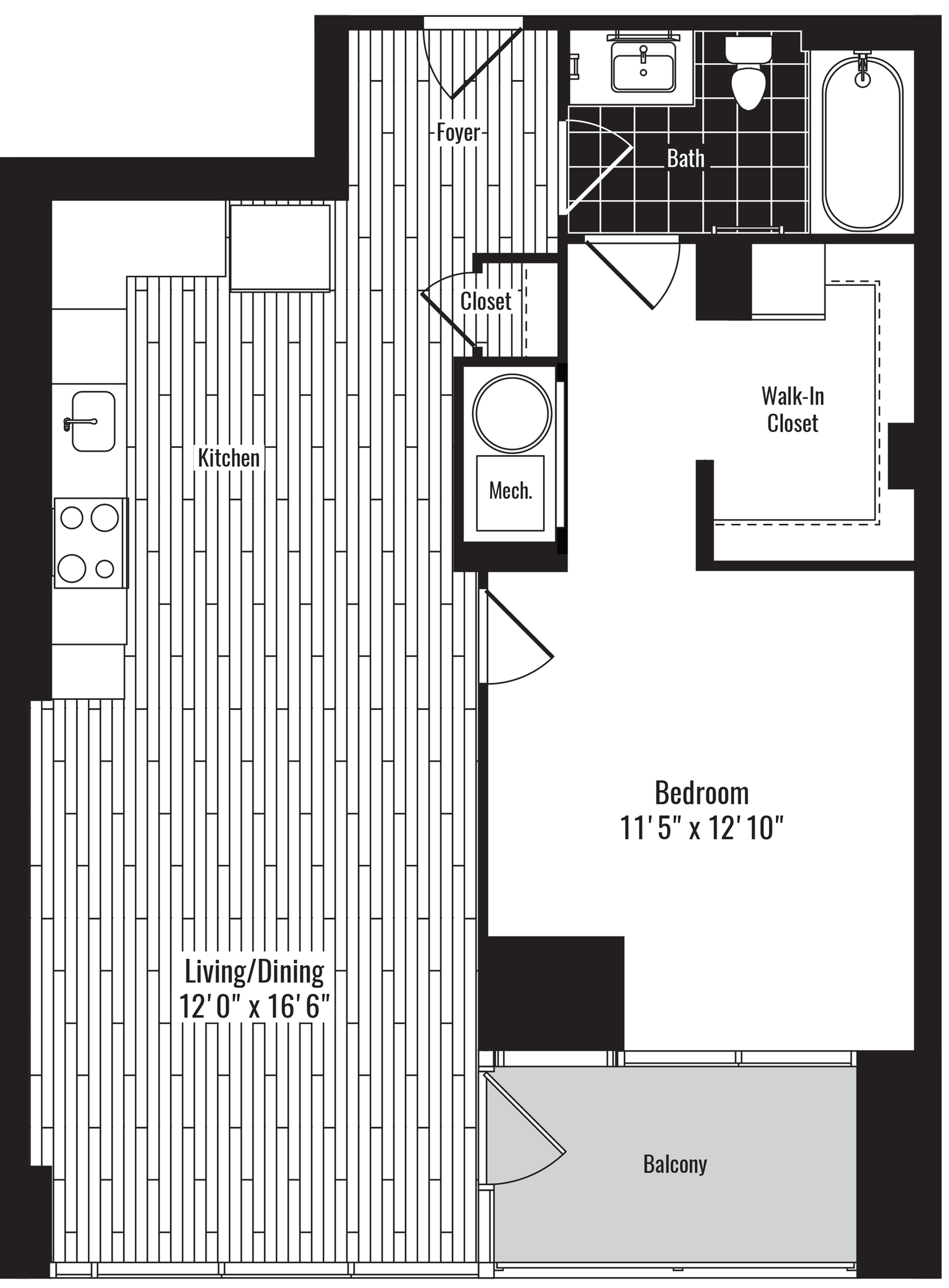 740 square foot one bedroom one bath apartment floorplan image