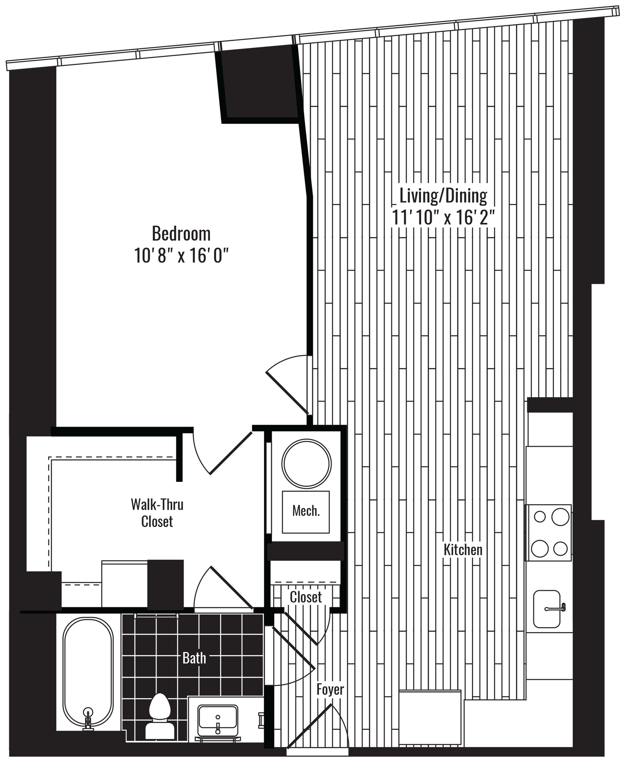 749 square foot one bedroom one bath apartment floorplan image
